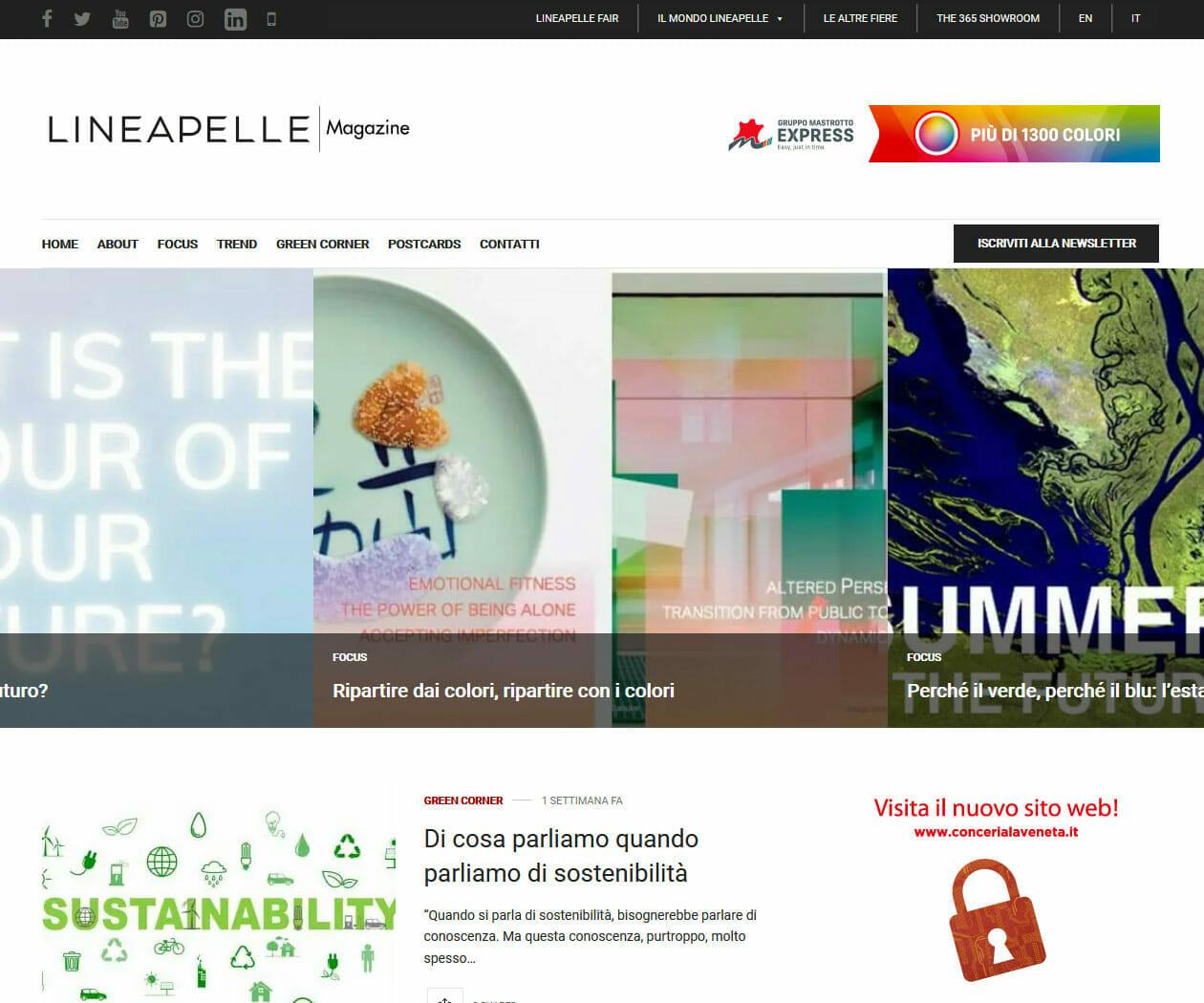 Sito Web Magazine Lineapelle