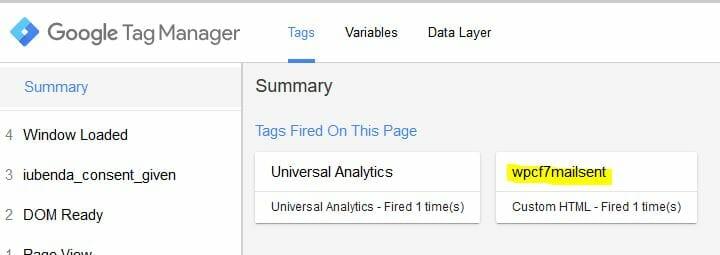 Tracciare Eventi Contactform7 Google Tag Manager 15